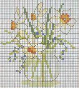 Schemi punto croce di fiori per presine, corredi e bavaglini