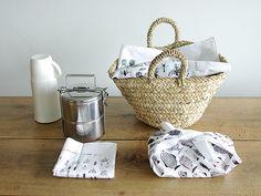 screen printed handkerchief. cute for a picnic