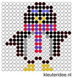 Kralenplank pinguin, kleuteridee.nl , thema Noordpool & Zuidpool  , free printable  Beads patterns preschool.