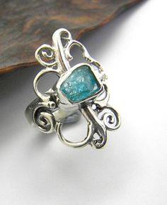 Apatite ring sterling silver raw apatite by nikiforosnelly