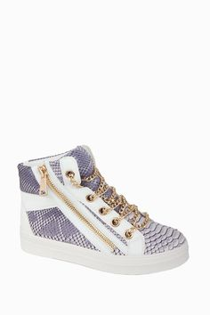 Snakeskin Effect High Top Trainers With Chain Detailing - Trainers - Shoes