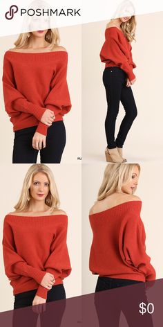 Loose Fit Sweater RUST Beautiful Soft Off The Shoulder Sweater. 60% Cotton, Polyester 40%. Sweaters
