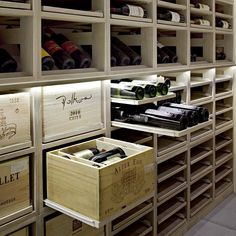 Modern Olive House in Croatia - wine cellar Wine Shelves, Wine Storage, Storage Shelves, Crate Shelves, Storage Drawers, Wine Cellar Basement, Home Wine Cellars, Wine Cellar Design, Basement Bar Designs