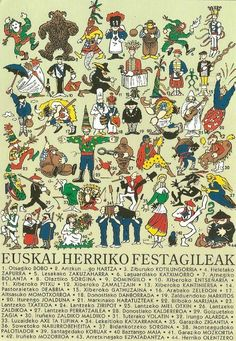 Basque folklore - Postcard by Kukuxumusu Bilbao, Asturian, Spain Culture, Nostalgia, Basque Country, My Heritage, Cool Cartoons, Gods And Goddesses, Cartoon Drawings