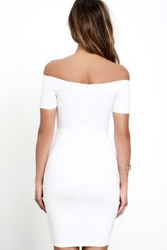 7ce0c1914b43 You're sure to get more than a handful of numbers over the course of a  night spent in the Me Oh My White Off-the-Shoulder Bodycon Dress!
