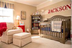 Baby boy nursery, baseball, stripes
