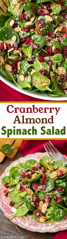 Almond Spinach Salad with Sesame Seeds D. - Cranberry Almond Spinach Salad with Sesame Seeds D. -Cranberry Almond Spinach Salad with Sesame Seeds D. - Cranberry Almond Spinach Salad with Sesame Seeds D. Vegetarian Recipes, Cooking Recipes, Healthy Recipes, Healthy Snacks, Easy Recipes, Vegan Meals, Easy Cooking, Healthy Salads For Dinner, Simple Salad Recipes