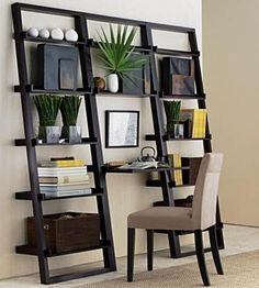 Great Desk/work area idea for limited space.  We have this...but in the space for the desk we opted for a wine rack:)