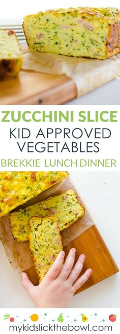 Kids Meals The easiest zucchini slice recipe, perfect for a light family meal and in school lunch boxes - Lunch, Dinner or even Breakfast. Add to a lunch box, Baby Led Weaning. You Can't Go Wrong! Fingerfood Recipes, Lunch Recipes, Baby Food Recipes, Appetizer Recipes, Vegetarian Recipes, Cooking Recipes, Healthy Recipes, Food Baby, Cooking Kale