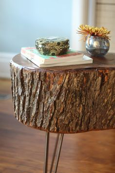 Stump Table Wood Juice to soak in the center &Gloss Finishing Spray to keep the bark from flaking