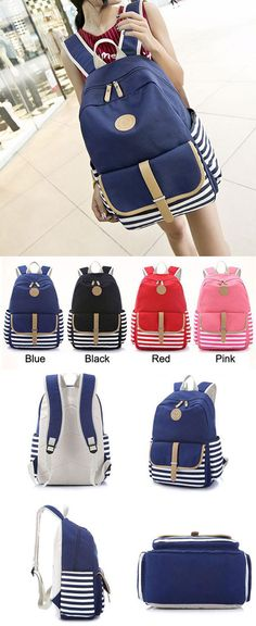 Which color do you like? Simple Striped Large School Bag Travel Bag Canvas Backpack #simple #striped #large #school #backpack #Bag #cute #student #fashion