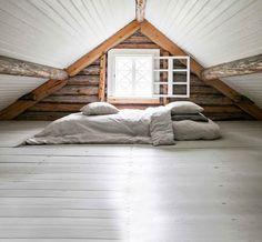 Attic Bedroom Designs, Attic Rooms, Cottage Plan, Cottage Homes, White Cabin, Sleeping Loft, Cabin Interiors, Log Cabin Homes, Minimalist Home Decor