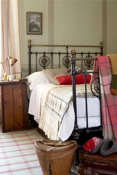 bedroom, brass bed, plaid wool blanket