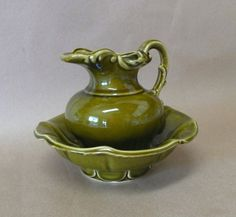 Vintage McCoy Pottery Pitcher and Bowl Green Drip Glaze Set USA Pottery Small Flower Vase Display Piece by chriscre on Etsy