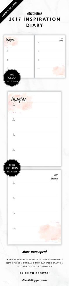 2017 Weekly Diary Planner // The Cleo Collection by Eliza Ellis. Gorgeous watercolor and handwritten type design. Bonus matching planner covers and annual calendar included. Available in 3 colors – fairyfloss, nimbus and sherbet. Monday and Sunday week starts included. Documents print to A4 or A5.