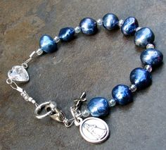 Blue freshwater pearl decade bracelet rosary by nonie615