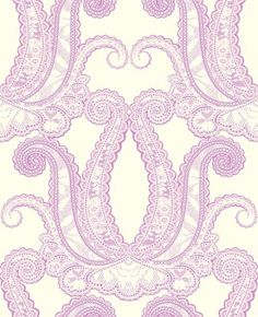 Yolande (W0039/09) - Clarke & Clarke Wallpapers - A large scale delicate lace effect damask design. Shown in the Sorbet pink purple on a neutral colourway. Please request sample for true colour match. Paste the wall.