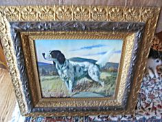Large antique frame with Spaniel dog print for sale at More Than McCoy at http://www.morethanmccoy.com