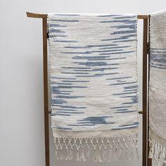indigo & white ikat throw rug
