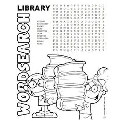 Word Search Printable Library Word Search to keep the kid's minds active over the summer.Printable Library Word Search to keep the kid's minds active over the summer. Library Games, Library Week, Reading Library, Library Activities, Library Books, Library Ideas, Kids Library, School Library Lessons, Library Lesson Plans