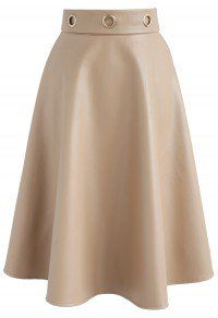 Alluring Faux Leather A-line Skirt in Light Tan