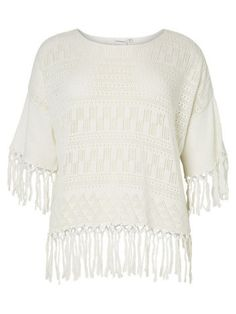 Wide Fit Knit Fringe Top by JUNAROSE Brand in Ivory