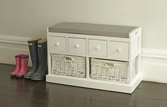An elegant crisp white bench with four drawers and two fully lined wicker baskets. This beautiful piece will look great in any hallway or bedroom, and is great for keeping your house clutter free and organized. | eBay!