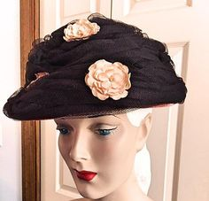 Vintage 1950s 1960s Beehive Hat Womens 50s 60s by bonitalouise