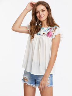 Embroidered Mesh Yoke Flutter Sleeve Overlap Back Top