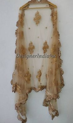 Designer Indian Traditional Golden Dupatta Chunni Stole Scarves embroiderd Net for Lehenga Suit Salwar Kameez for Women and Girls Party Wear
