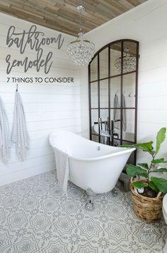 bathroom remodel bathroom makeover white shiplap bathroom cement tile floors bathroom clawfoot tub