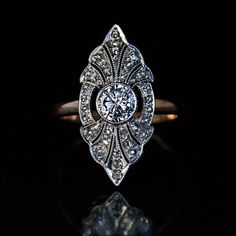 A vintage Art Deco diamond ring handcrafted in platinum and gold, Russian, c.1930s