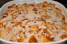 CHRISTMAS MORNING. Cinnamon Roll Casserole--put this in the oven and the whole house will smell divine....I might try this!!