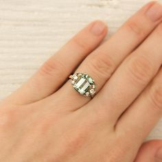 Vintage White and Yellow Gold Emerald Engagement Ring | Erstwhile Jewelry Co.