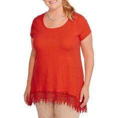 Plus Size French Laundry Women's Plus Scoop Neck Crochet Trim Hi Lo Gauze Top, Size: 1XL, Red