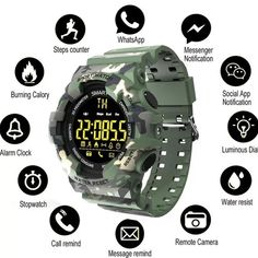 Buy COXRY sport military watch men smart digital pedometer watch LED stopwatch smartwatch sports watches for running android IOS Smartwatch, Sport Watches, Watches For Men, Remote Camera, Whatsapp Messenger, Good Company, Digital Watch, Military, Android