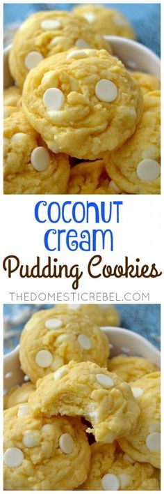 These Coconut Cream Pudding Cookies are so supremely soft & chewy and loaded with buttery, nutty coconut flavor and white chocolate! You'll never guess their secret, EASY ingredient!