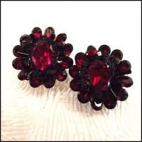 Haskell Jewelry 1950s Vintage Earrings Ruby Red Glass Flowers