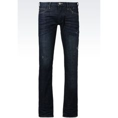 Armani Jeans Extra Slim Fit Dark Wash Jeans ($230) ❤ liked on Polyvore featuring men's fashion, men's clothing, men's jeans, blue, mens dark blue jeans, mens slim fit jeans, mens super skinny jeans, mens low rise skinny jeans and mens slim cut jeans