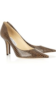 Jimmy Choo | Agnes glossed-elaphe pumps | NET-A-PORTER.COM