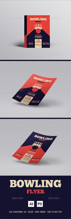 Gym Center Flyer -03 Colors, Gym and Flyers - bowling flyer template