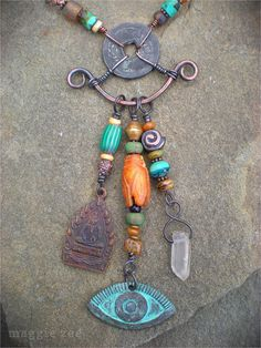 Lucky Cicada Shaman Protection Amulet Necklace by maggiezees, $125.00 - cool connection
