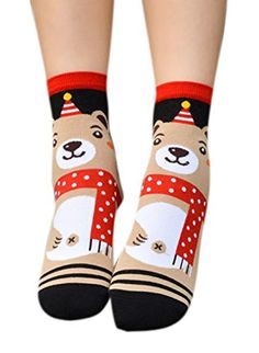 Lingswallow Women Cute Christmas Animal Striped Floral Ankle Casual Floor Sock * Read more  at the image link.
