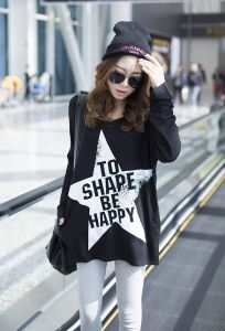 J74686 Punk Five-pointed Star Printing Large Size Long T-shirt [J74686] - $7.63 : China,Korean,Japan Fashion clothing wholesale and Dropship online-Be the most beautiful Lady
