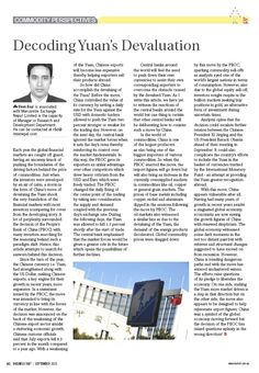 """This section displays the articles contributed by MEX towards the column titled, """"Commodity Perspectives"""" in the monthly business magazine of Business 360."""
