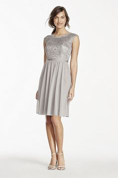 Short Metallic Lace and Mesh Dress Style F17019M