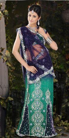 Royal Blue Rama Green Net, Shimmer Lehenga Saree