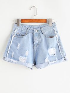 Shop Plus Raw Hem Ripped Denim Shorts online. SHEIN offers Plus Raw Hem Ripped Denim Shorts & more to fit your fashionable needs. Ripped Shorts, Sweater And Shorts, Ripped Denim, Distressed Denim, Blue Shorts, Jean Shorts, Cropped Denim Jacket, Denim Overalls, Denim Outfit