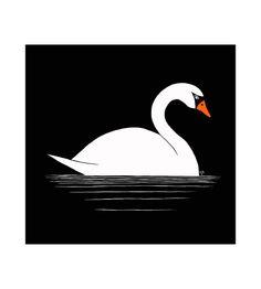 Swan Illustration  8.5 x 11 Print van BluestarInk op Etsy