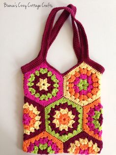 Tote bag, market bag, hexagon crochet bag, crochet tote bag, cotton bag, reusable bag, multi color: yellow-orange-hot pink-green-dark red by BsCozyCottageCrafts on Etsy https://www.etsy.com/listing/233006871/tote-bag-market-bag-hexagon-crochet-bag